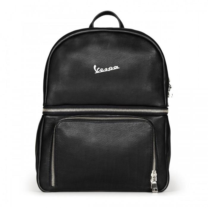Vespa Σακίδιο Πλάτης Primavera Backpack- Genuine Full Grain Leather - Black Τσάντες & Σακίδια & Βαλίτσες